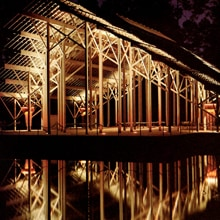 Pinecote Pavilion at night